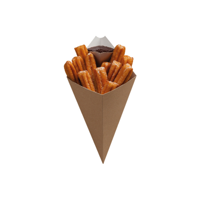 Small Kraft Dessert Chip Cone with Dip Corner 168 x 279mm - Pack 500