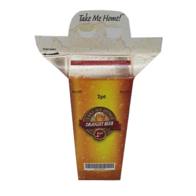 2 Pint Beer Disposable Carry-Out Carton with Handle - Pack 50