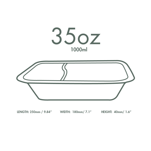 Vegware Compostable Sugarcane Gourmet 2 Compartment Base Tray 250x180x40mm 1000ml - Pack 600