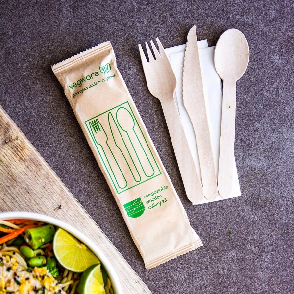 16cm Wooden Knife, Fork, Spoon & Napkin Set - Compostable Cutlery Pack - Pack 250