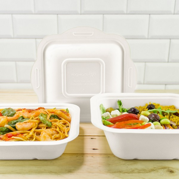 Vegware Compostable Sugarcane Gourmet Base Tray 195 x 180 x 65mm 32oz 1000ml - Pack 600